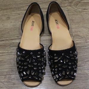 Cream d'orsay woven open toe flats